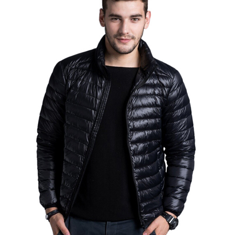Men casual warm Jackets solid thin breathable Winter Jacket Mens outwear Coat Lightweight parka Plus size