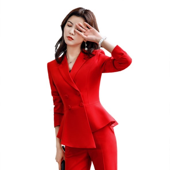 Office Ladies Double Breasted Blazer and Pencil Trouser Womens Formal Work Irregular Blazer Pants Suits for Women Slim Pantsuit