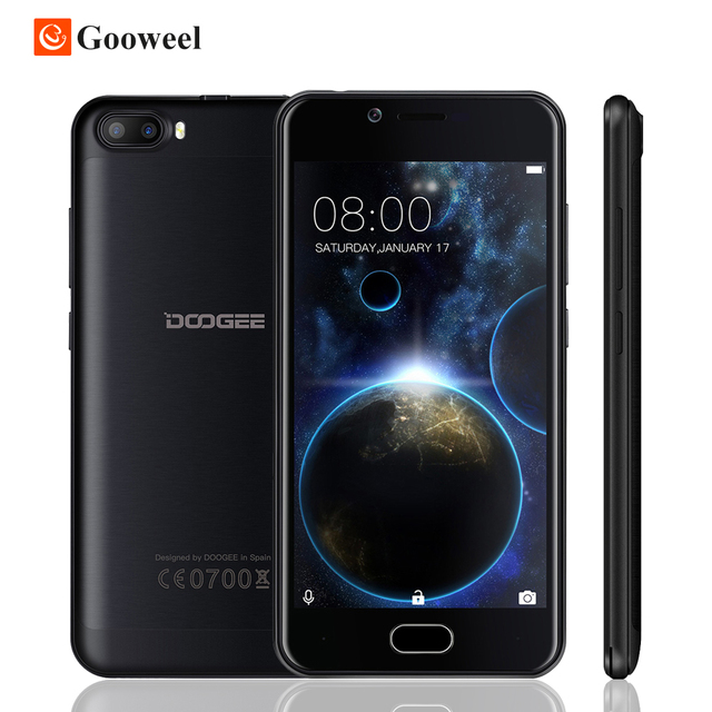 "Doogee Shoot 2 Smartphone 5.0"" HD Android 7.0 MT6580 Quad Core Dual Rear 5MP+5MP+5MP Camera 3000mAh Fingerprint Mobile phone"
