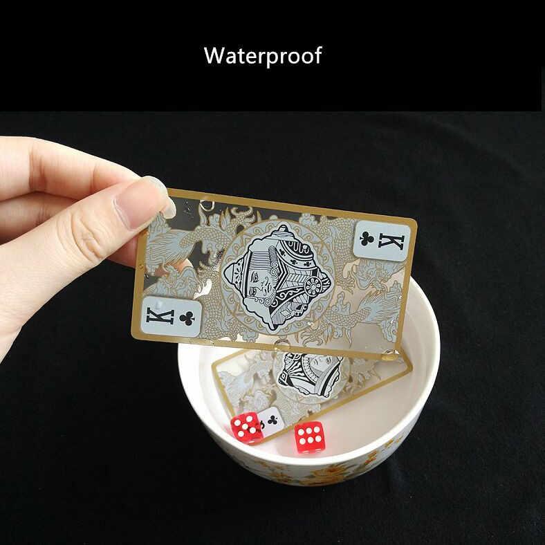 Chất Lượng cao Không Thấm Nước Trong Suốt Nhựa Xi Vàng Edge Chơi Bài Rồng Thẻ Game Thu Tặng L412