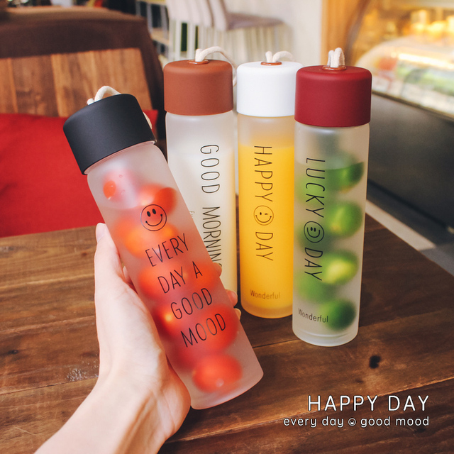 High Quality Portable Travel Matte High Borosilicate Glass Outdoor Transparent Bottle For Drinking Water Fruit Juice