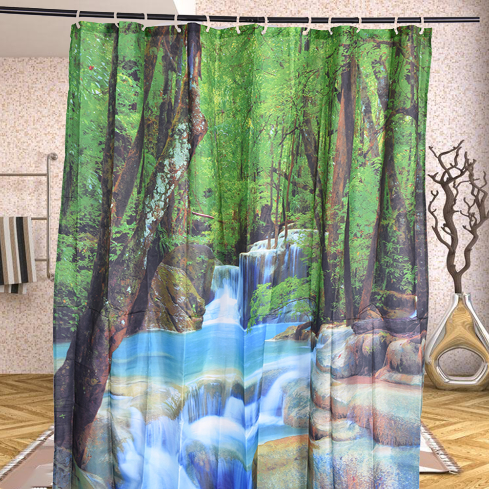 High Quality 1.8 X 2m 3D Durable Shower Curtain Waterfalls Green Nature Scenery Bathroom  Mildewproof Polyester Fabric With