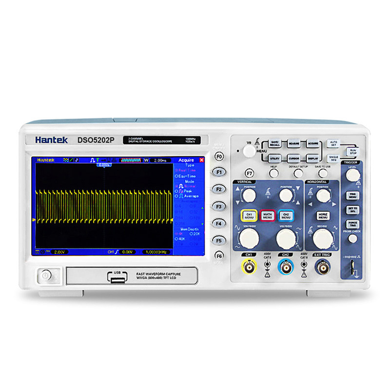 Oscilloscope hantek dso5202p Digital storage oscilloscope 200MHz 2Channels 1GSa/s LCD Record Length 40K USB oscilloscope new dso5200 digital virtual oscilloscope hantek dso 5200 portable oscilloscope usb 200mhz 250ms s 2 channel