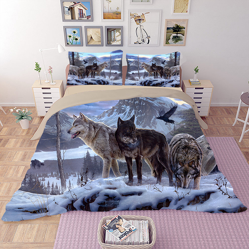 Lion Wolf Bedding Set Twin Full Queen King Double Size Duvet Cover Doona Cover Quilt Cover Pillow Cases 3PCS Snow Wolf