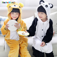 Wholesale Cartoon Kigurumis Unicorn Stitch Panda Kids Pajamas Hooded Girls Boys Pajama Child Cosplay Animal Onesies