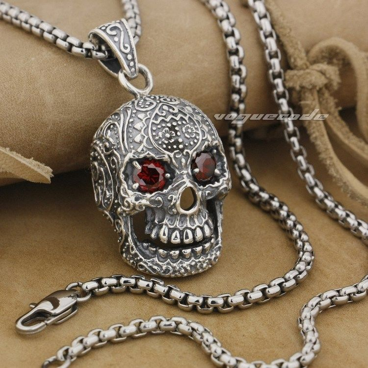 Huge & Heavy Red CZ Eyes Skull 925 Sterling Silver Mens Biker Pendant 9E007 (Necklace 24inch) solid 925 sterling silver claw skull red cz eyes mens biker pendant 8x017 necklace 24inch