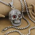Huge & Heavy Red CZ Eyes Skull 925 Sterling Silver Mens Biker Pendant 9E007 (Necklace 24inch)