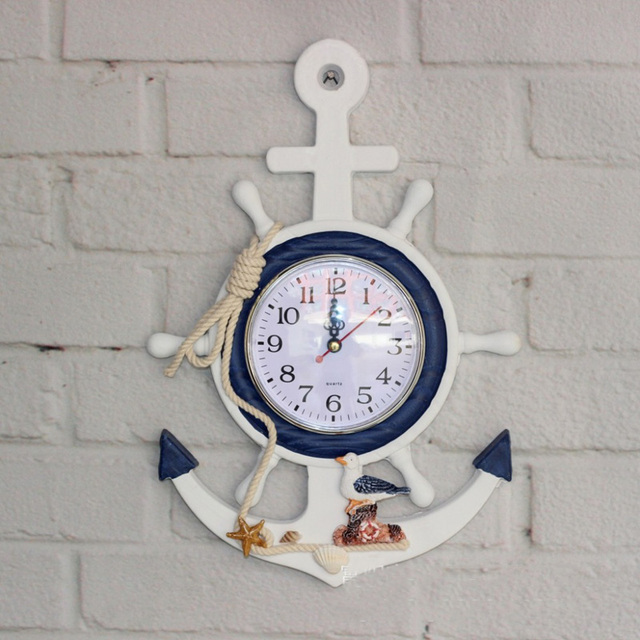 The Mediterranean Style Wooden Wall Clock Bell Anchor Helmsman Shape  Childrenu0027s Room Personalized Wall Clocks