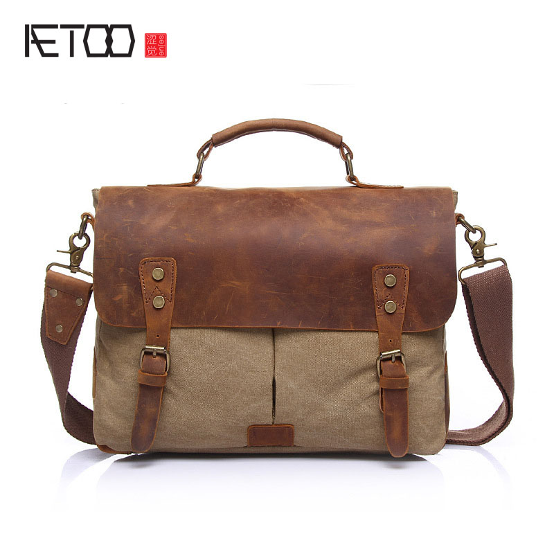 First layer of skin with a cloth canvas bag retro canvas shoulder bag Messenger bag portable