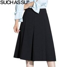 Tais como su 2017 verão moda cintura alta perna larga calças na altura do joelho casual preto marrom plissado tamanho S-3XL calças femininas