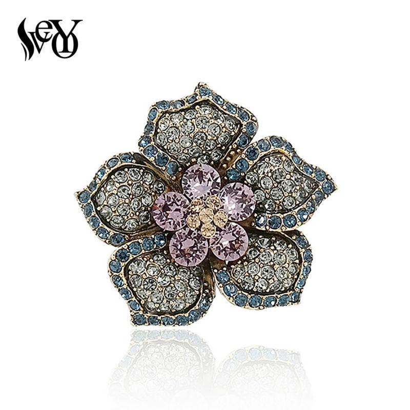 """""""VEYO"""" romantiška rožinė, pilna kalnų krištolo ir krištolo gėlių sagės, skirtos moteriai prabangių sagės segtuku"""