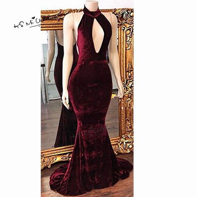 53c46a224a87 Donne Sexy Velluto Bordeaux Abiti Lunghi Abiti Da Sera Formale Sirena Vestito  Da Promenade Backless Halter