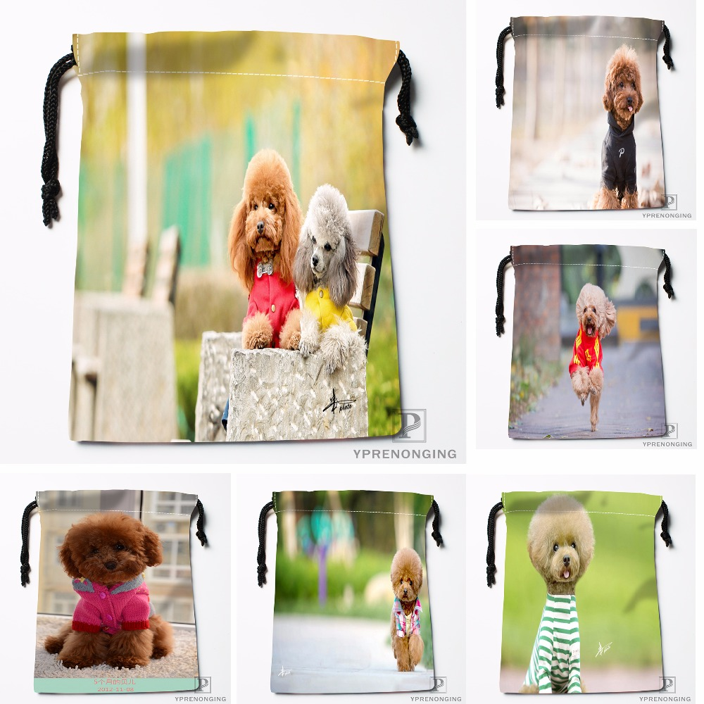 Custom Cute Pet Teddy Doggy Poodle Drawstring Bags Travel Storage Mini Pouch Swim Hiking Toy Bag Size 18x22cm#0412-04-213