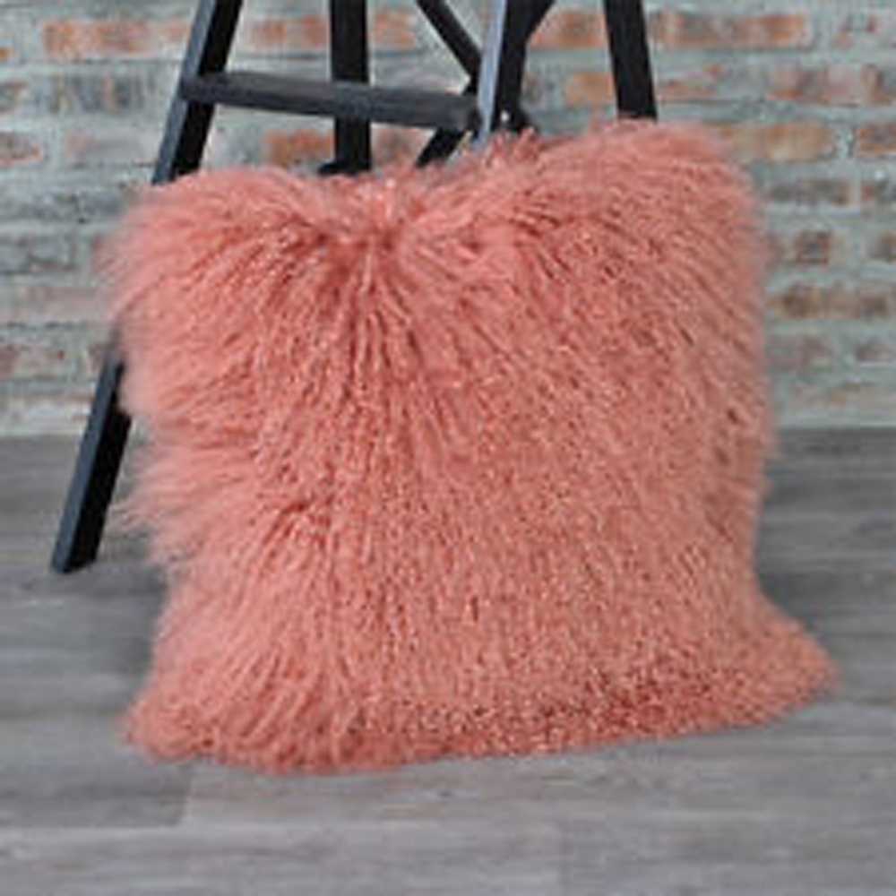 Hot Pink Mongolian Fur Cushion Cover Home Decor Decorative Throw Pillows  Tibetan Fur Pillow Cover Pillowcase
