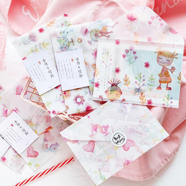 3pcs/pack Cute Cartoon Flower Paper Envelope Translucent Envelope For Planner Organizer Wedding Letter Invitation