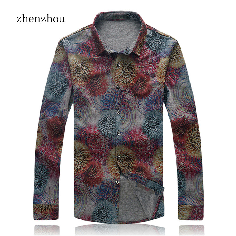 ZhenZhou New Fashion Mens Floral Shirts Long Sleeve M- 7XL Casual Men Dress Shirt Bussiness Camisa Social Masculina Slim Fit