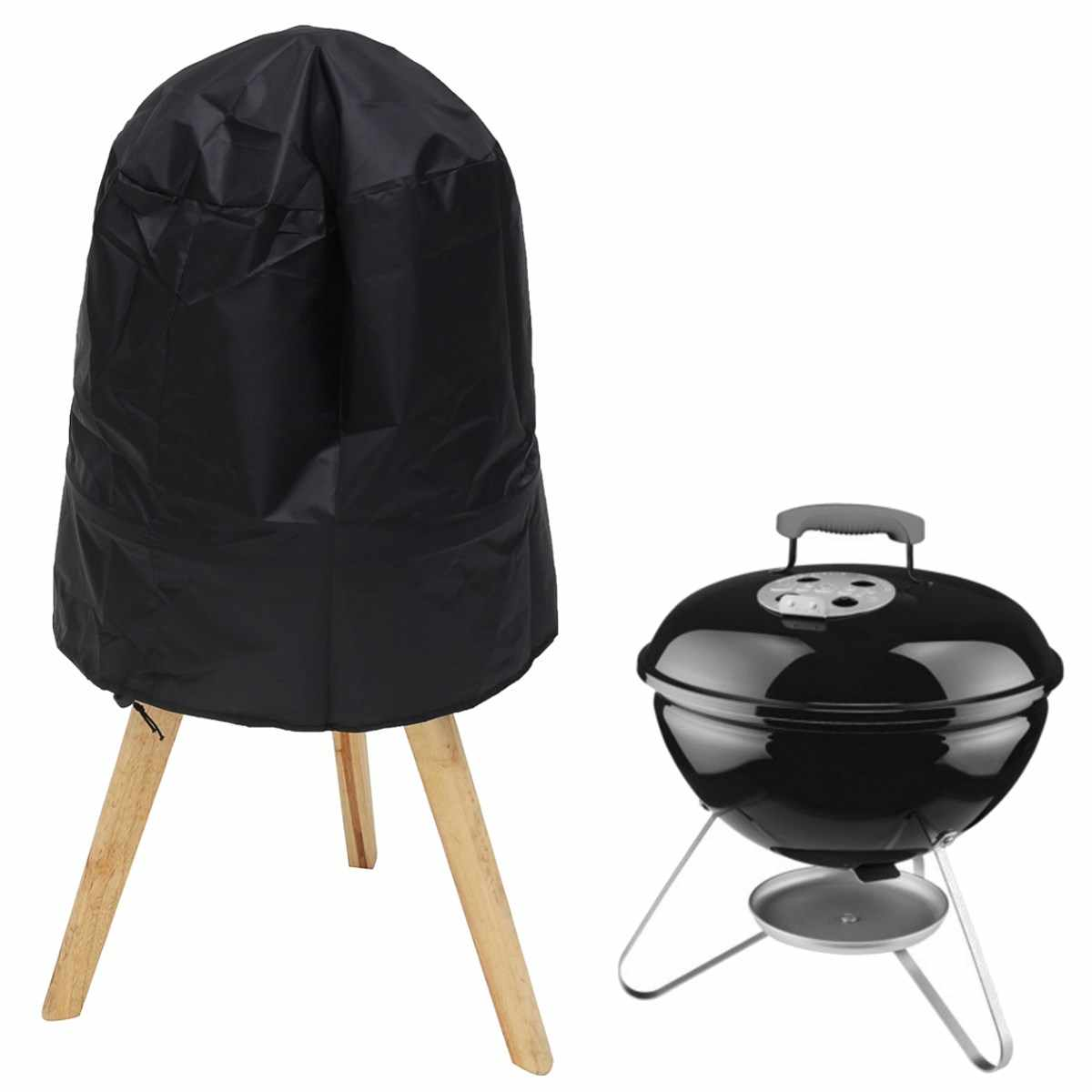 "Round BBQ Grill Cover 14""-15"" 38*40cm Fits For Weber Smokey Joe Serving Indoor Outdoor Dust Protector Black Silver Color"