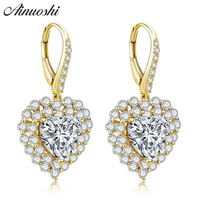 AINUOSHI 10K Solid Yellow Gold Heart Drop Earring SONA Diamond 5ct Heart Cut Halo Earring Women Jewelry Gift Click Back Earring