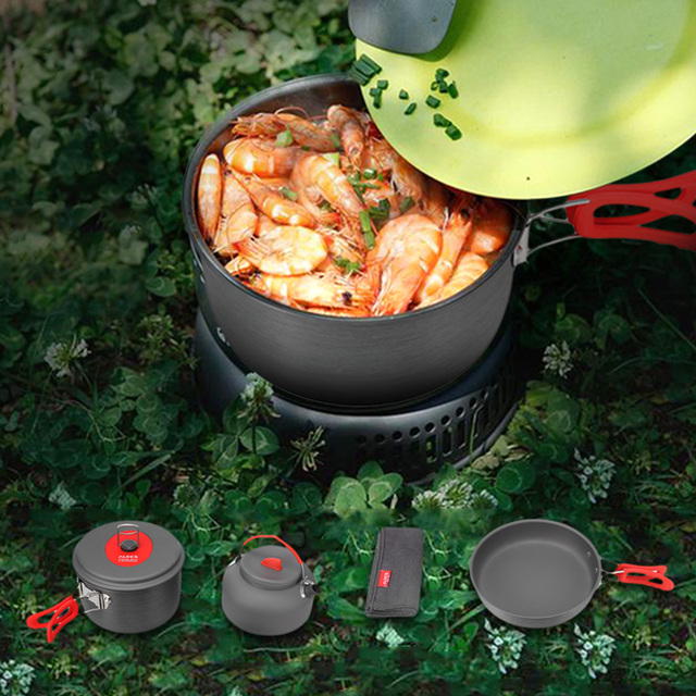 ALOCS Acampamento Ao Ar Livre Caminhadas Alumina 2-3 Pessoas Cozinhar Portátil Kit Conjunto Panelas Pot Pan para a Mochila de Piquenique