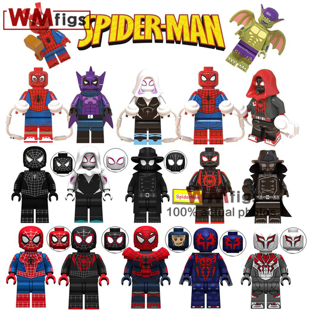 Movie Legoings Spiderman into the Spider Verse Spider-Ham Pigs Miles Morales Green Goblin Wings Gwen Stacy Building Blocks Toys
