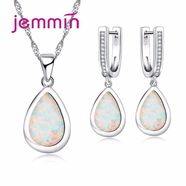 Jemmin Elegant Water Drop White Opal Necklace Earrings Set For Women Wedding Bridal 925 Sterling