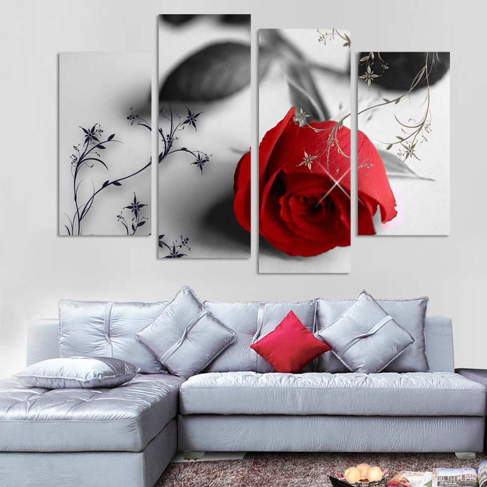 4 Piece Beautiful Red Rose Flowers Wall Painting Modern