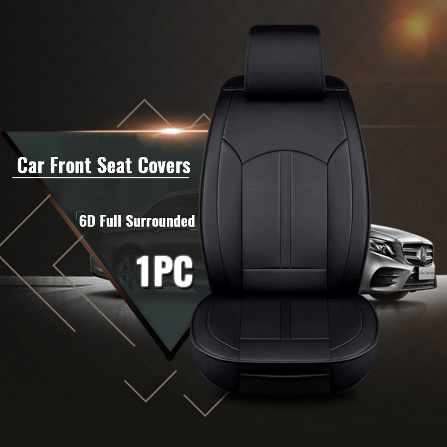 1PC Car Front Seat Mat Covers 6D Full Surrounded  PU Leather Breathable Cushion Pad Set Universal