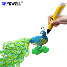 Myriwell 3d Pen Magic Drawing Pen Birthday Gifts Best Design Painting Printer DIY 1.75mm ABS PLA Filament 3 d Pen Handles Lapiz new style garment steamer household small hand held steam iron mini portable steam brush ironing machine