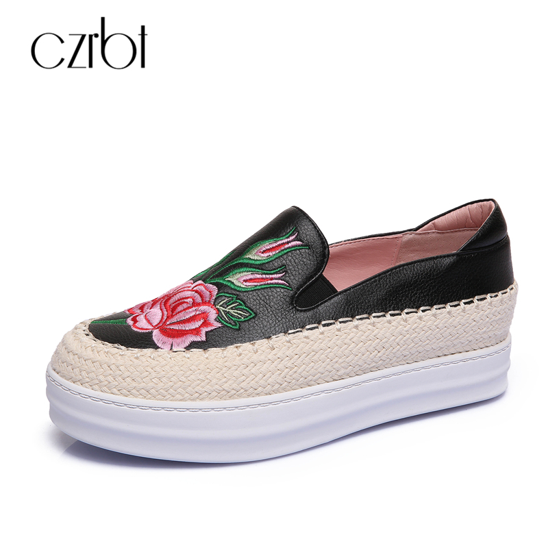 CZRBT Casual Loafers Genuine Leather Platform Shoes Women Hand Embroidery Flat Shoes Woman Spring Autumn Plus Size Flats 2016 new arrival woman flats genuine leather white women casual shoes platform hot sale designer flat shoes drop shipping