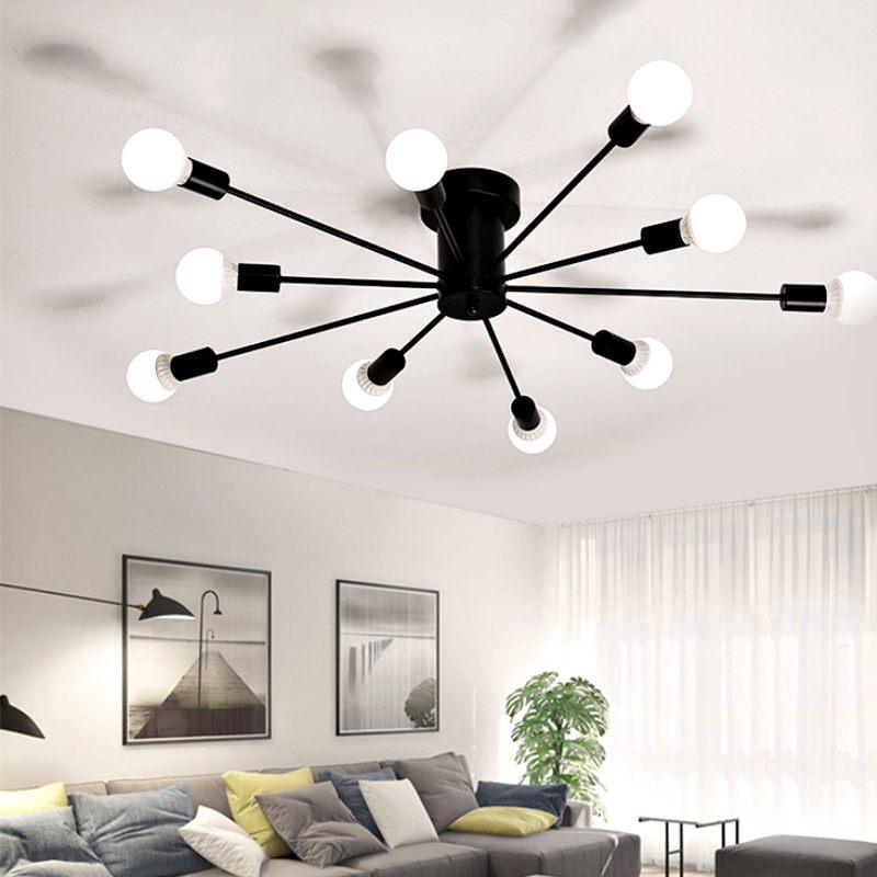 Retro Industrie Eisen 220V E27 LED Decke Lampe Edison-birne Wohnzimmer Schlafzimmer Anhänger Licht Hause Beleuchtung