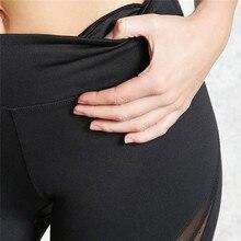 Black New Fashion Mesh Patchwork Leggings School Exercise Women Leggins Female Elastic Pant Capri Women Fitness Leggings