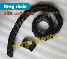2M half seal open 18 x 37mm Cable drag chain wire carrier with end connectors plastic towline for CNC Router Machine Tool 1000mm