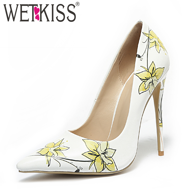 WETKISS 2019 Spring New High Heels Women Pumps Pointed Toe Shallow Footwear Print Ladies Party Shoes Woman Plus Size 45 White alfani new bright white sequined chevron print blouse women s size xs $69 384