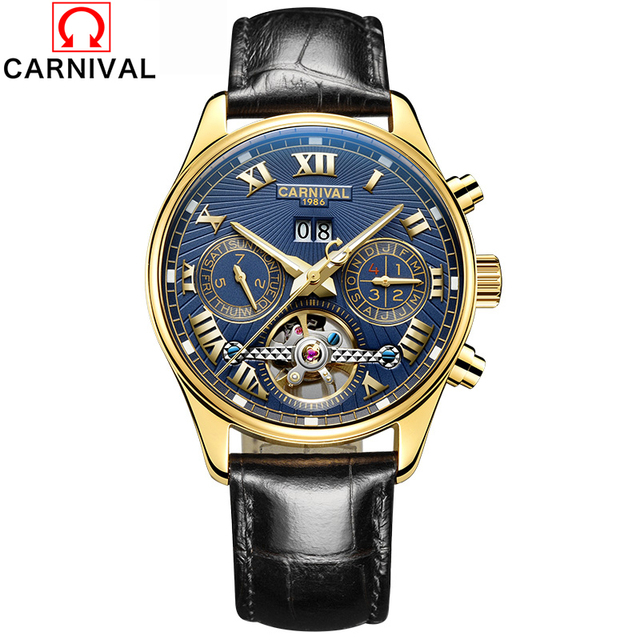 CARNIVAL Tourbillon Wrap Mens Watches Top Brand Luxury Automatic Watch Golden Case Calendar Male Clock Black Mechanical Watch