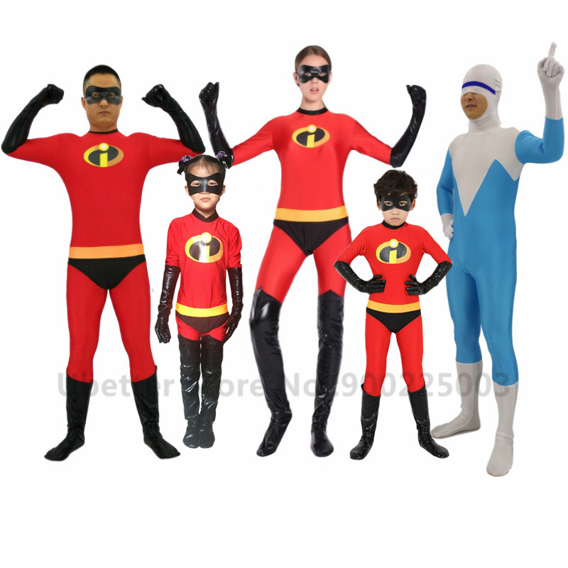 Kids Adult Incredible Superhero Cosplay Costumes Halloween Family The Incredibles Costume Spandex Lycra Jumpsuits Bodysuits C064