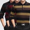 1 unids Famosos Hombres de la Marca de Ropa de Primavera 2015 Para Hombre de Largo camisa de polo de la manga de La Manera Ocio Solapa Delgada camisa de polo de tamaño, m-3XL KH60 ORO