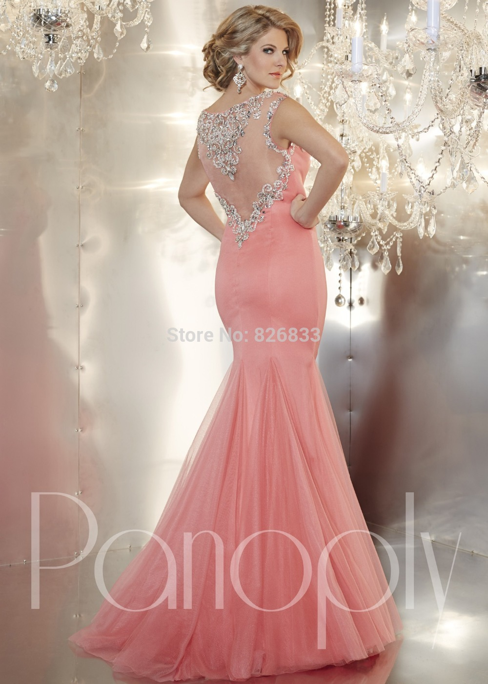 Light Blue Pink Mermaid Prom Dresses Sparkly Beaded Evening Gowns ...