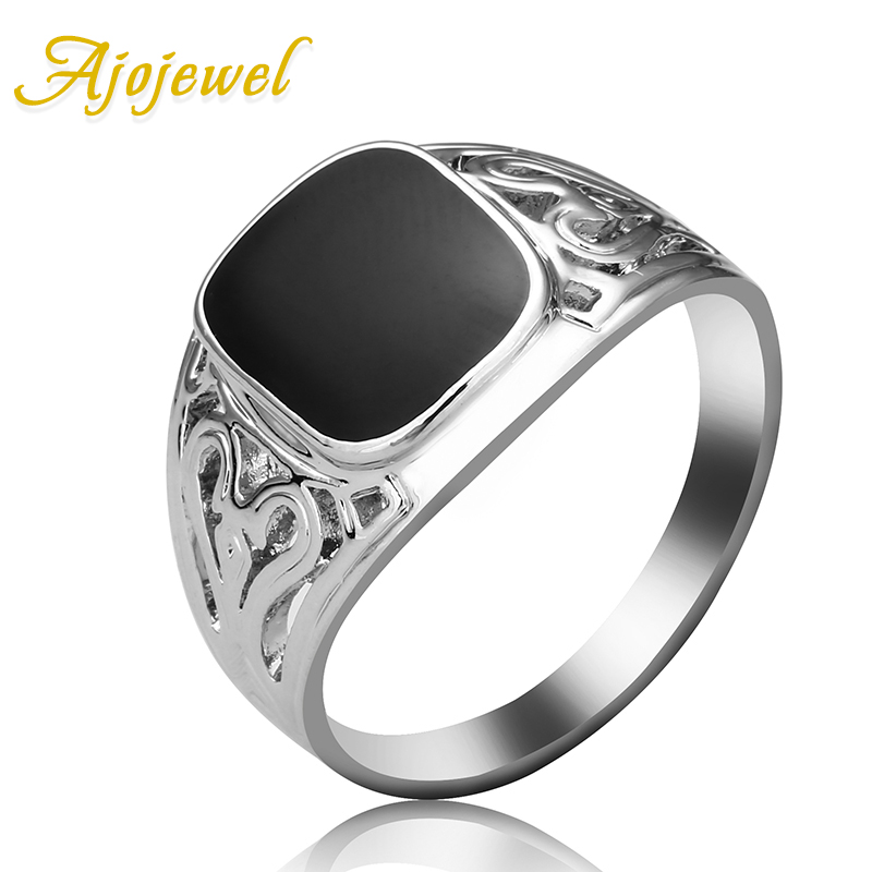 Ajojewel Classical Simple Style Enamel Painting Black Ring Men ...