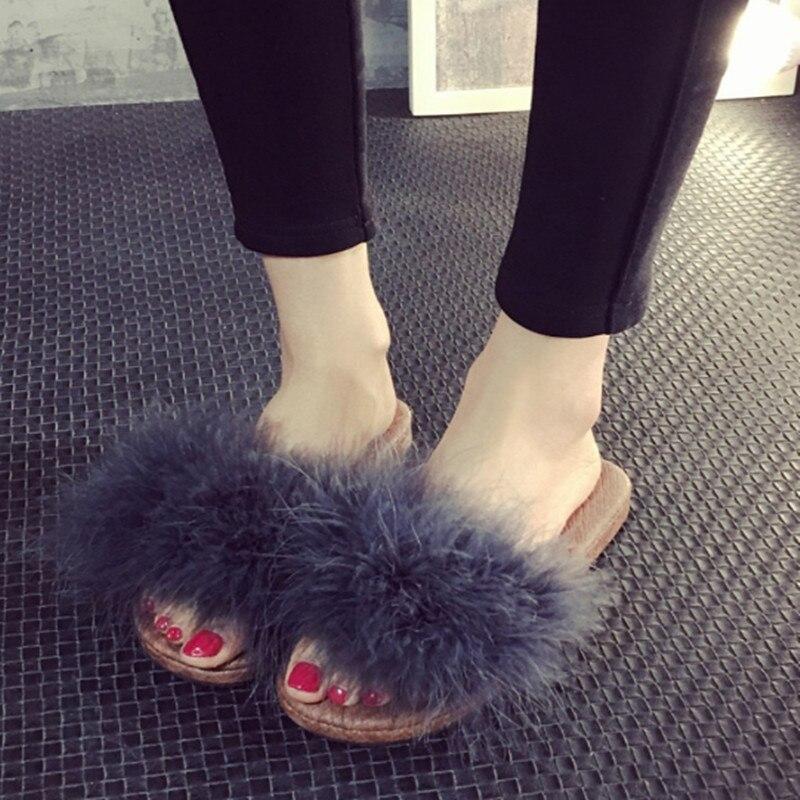 2017 New Fashion Women Spring Summer Fur Slippers Sandals