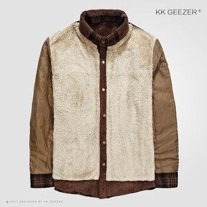 Image 4 - フランネルシャツの男性軍格子縞の冬暖かいフリース厚コート綿100% の高品質ポケットシャツ長袖ドロップシッピング