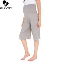 Chivry Women Maternity Capri Pants Pregnancy Trousers Pregnant Straight Loose Wide Clothing