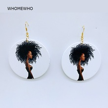 Unfinished Painting Wood Geometric Round Modern Africa Girl Drop Earring Retro Handmade Wooden African Indian Hiphop Ear Jewelry unfinished wood printing africa girl round drop earrings wooden african hiphop tribal handmade diy jewelry natural accessories