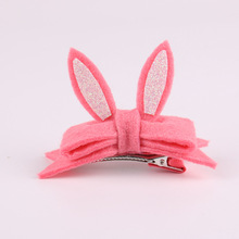 20pcs Fashion Cute Glitter Bunny Ears Hairpins Solid Kawaii Felt Bowk Animal Rabbit Ears Girls Hair Clips Headware Accessories