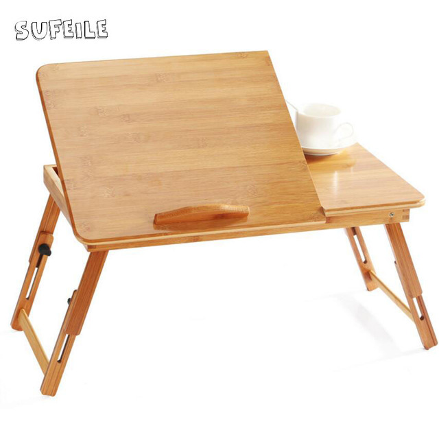 SUFEILE College Students Learn Laptops Table Natural Bamboo Laptop Table  Desk Adjustable Height Folding Table Computer