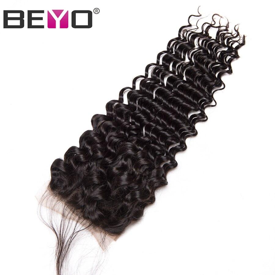 Beyo Hair Human Hair Lace Closure Brazilian Deep Wave Closure With Baby Hair 4x4 Free Part