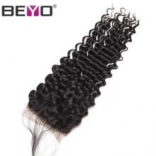 Beyo Hair Human Hair Lace Closure Brazilian Deep Wave Closure With Baby Hair 4x4 Free Part Closure Non-Remy Hair Free Shipping