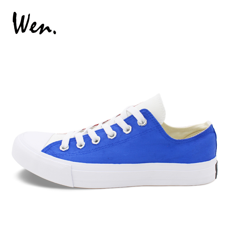 Wen Low Top Canvas Shoes Blue Red White France Flag Hand Painted Shoes Original Design Sneakers Men Women Plimsolls Trainers men women converse puerto rico flag hand painted artwork high top canvas shoes unique sneakers
