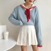 2018 New Japan Style Cute Sailor Collar Lace Up Long Sleeve Sweater Women Autumn Harajuku Pullover Jumper Woman Kawaii Sweaters