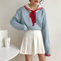 2019 New Japan Style Cute Sailor Collar Lace Up Long Sleeve Sweater Women Autumn Harajuku Pullover Jumper Woman Kawaii Sweaters