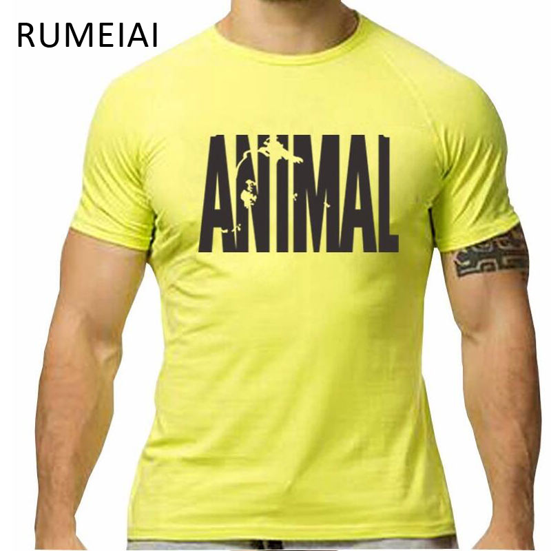 RUMEIAI Brand Clothing Mens Animal print tracksuit cotton t shirt Hip Hop Short Sleeve t-shirt Men O-neck streetwear fitness Tee